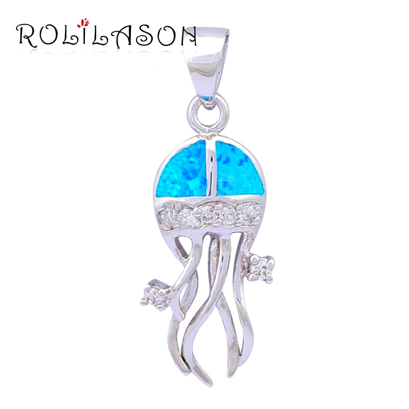 Cheap jewelry Wholesale Retail Beautiful Gift Blue Fire Opal Silver Stamped Necklaces Pendants Fashion jewelry OP302