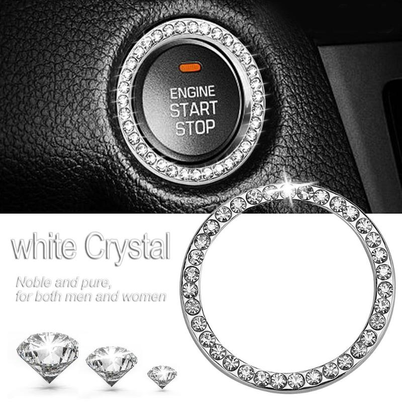 "HTB1MezeiVkoBKNjSZFEq6zrEVXan 40mm/1.57"" Auto Car Bling Decorative Accessories Automobiles Start Switch Button Decorative Diamond Rhinestone Ring Circle Trim"