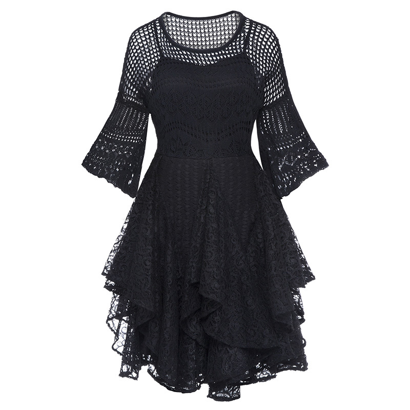 Women black ball gown dress vintage hollow out flare sleeve dress double layer elegant female gothic party lace sexy mini dress