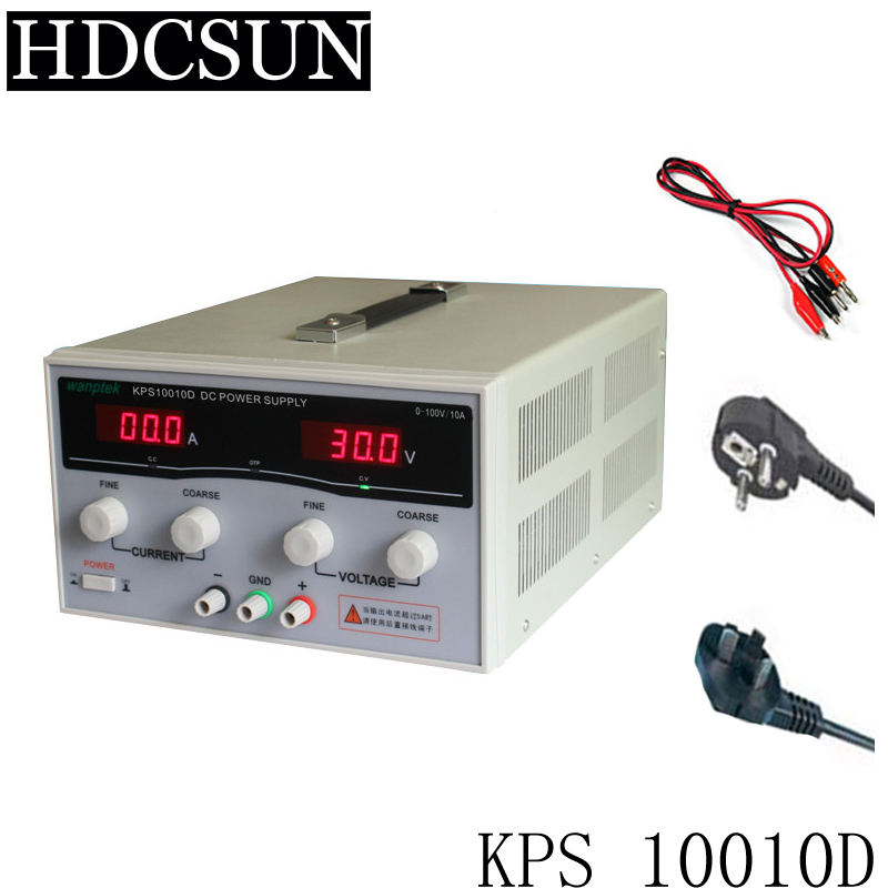 KPS10010D High Power Adjustable Switching DC power supply,0~100V 0~10A 110V/220V precision Digital DC Power supply US/EU/AU Plug original lw mini adjustable digital dc power supply 0 30v 0 10a 110v 220v switching power supply 0 01v 0 01a 34 pcs dc jack
