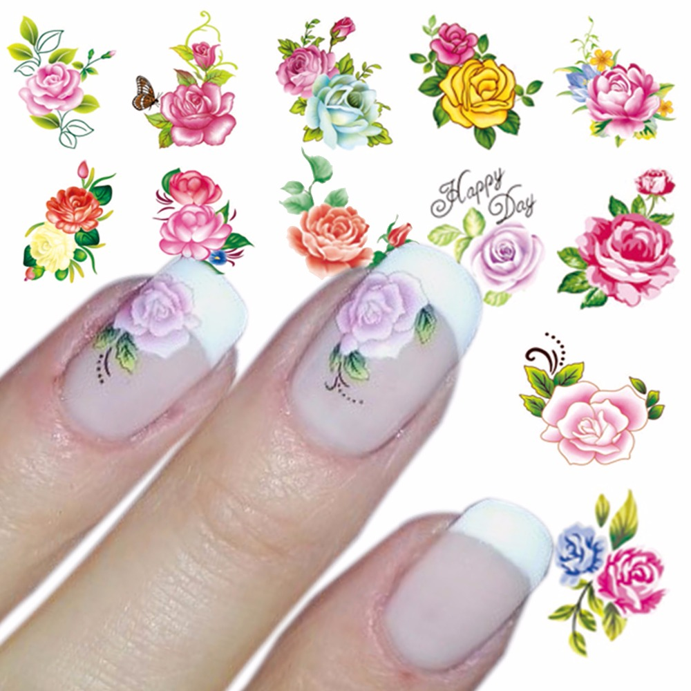 ZKO 1 Sheet Optional Water Decal Nail Art Water Transfer Gothic Blooming Flower Sticker Stamping For Nails Art Stamp zko 1 sheet water transfer nail art sticker decal foil adhesive nails tips nail decoration makeup tools 8028