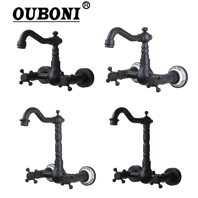 OUBONI Wall Mounted Oil Rubbed Black Bronze Bathroom Faucet Rotated Bathtub Basin Sink Faucet Mixers &Taps Doubel Handles