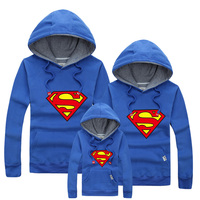 1pc Retail 2015 Family Matching Hoodies Mother Daughter Clothes Father Son Autumn Fashion Superman Sweatshirts Mommy