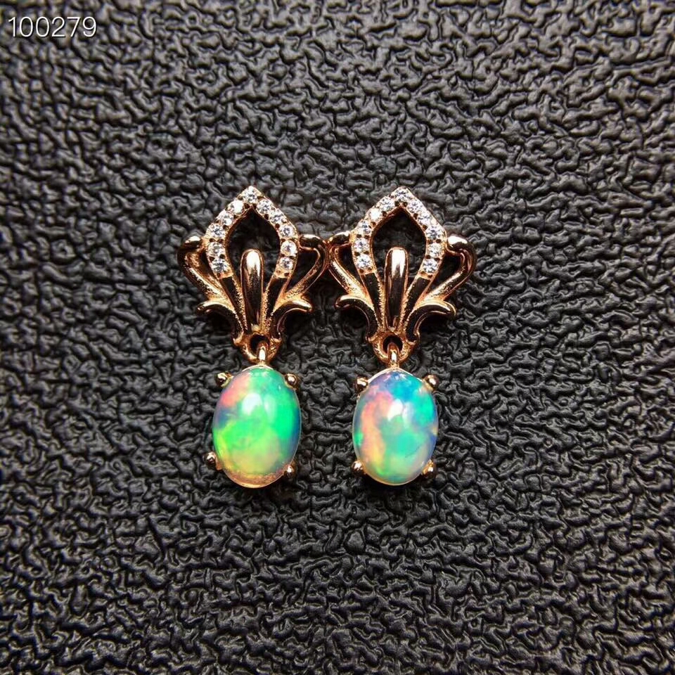 KJJEAXCMY fine jewelry 925 pure silver inlaid natural opal female stud jewelry double row