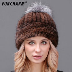 100 mink hat with fur pompom mink fur knitted caps natural fur beanies cap high quality.jpg 250x250