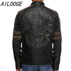 The top leather motorcycle jacket 2016 genuine leather jacket mens skeleton.jpg 250x250