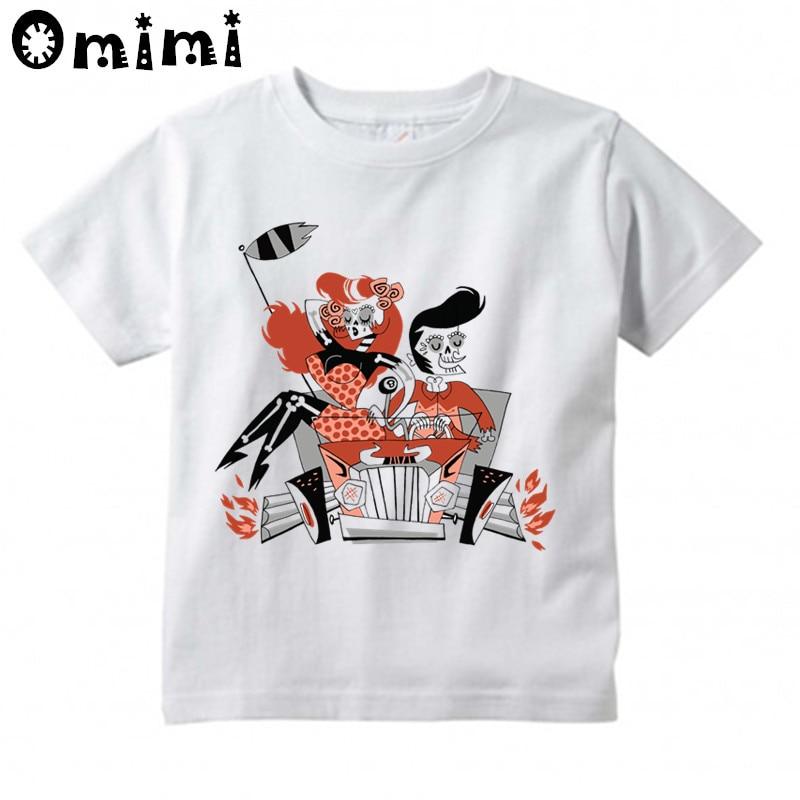 Children Rockabilly 1960 Classical Fashion Design Tops Boys/Girls Casual T Shirt Kids Cool White T-Shirt