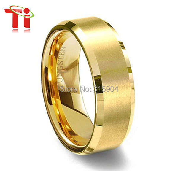 customize all size wholesale and retail tungsten wedding band yellow gold engagement rings mens gold ring in rings from jewelry accessories on - Customize Wedding Ring