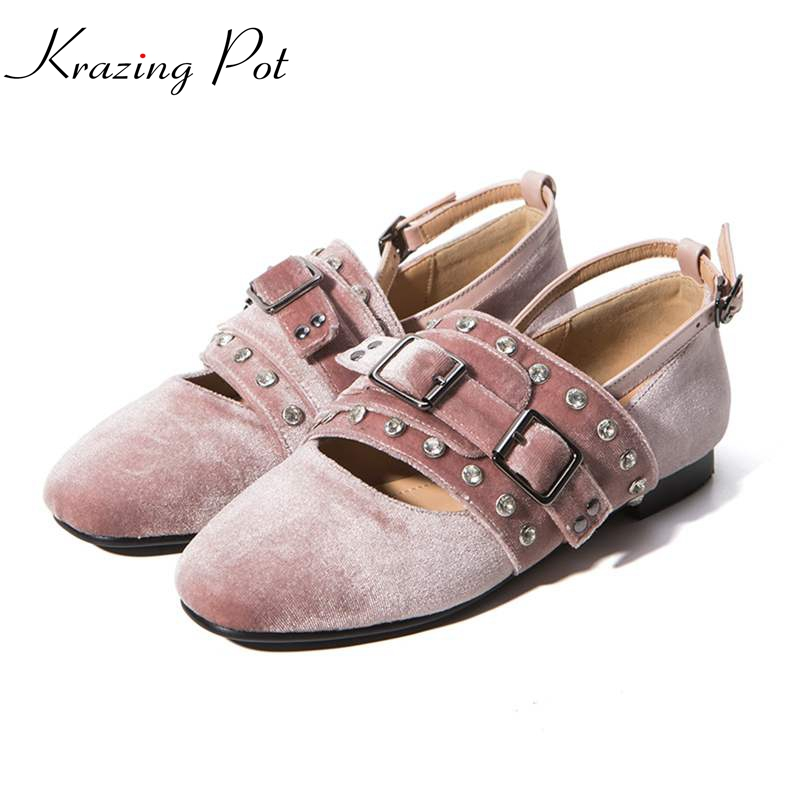 2017 fashion genuine leather solid women flats classic round toe ballet metal decoration brand shoes driving buckle shoes L26
