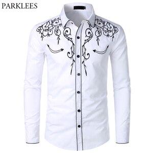 Image 1 - メンズ西部のカウボーイシャツスタイリッシュな刺繍スリムフィット長袖パーティーシャツ男性ブランドデザインの宴会ボタンダウンシャツ男性