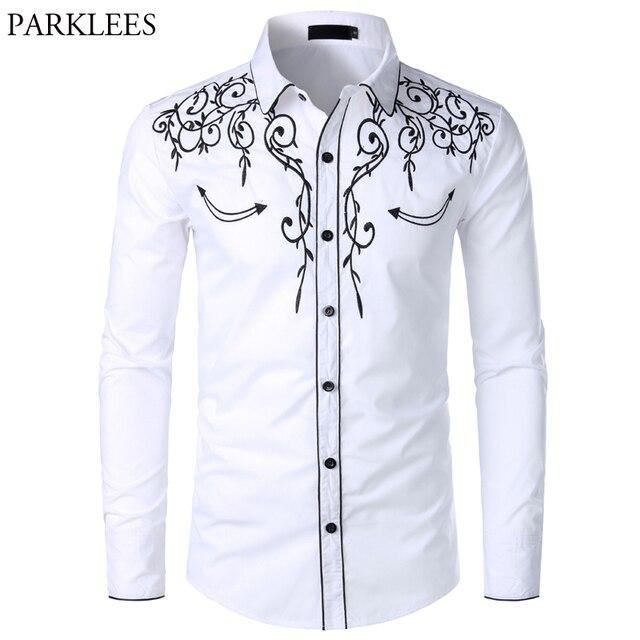 メンズ西部のカウボーイシャツスタイリッシュな刺繍スリムフィット長袖パーティーシャツ男性ブランドデザインの宴会ボタンダウンシャツ男性