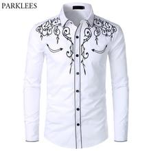 Camisa do vaqueiro ocidental dos homens à moda bordado fino ajuste manga longa camisas de festa dos homens design da marca botão do banquete para baixo camisa masculina