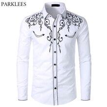 Mens Western Cowboy Shirt Stijlvolle Geborduurde Slim Fit Lange Mouwen Party Shirts Mannen Brand Design Banket Overhemd Mannelijke