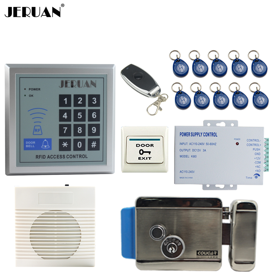 JERUAN RFID Password button Access Controller system kit+Speaker doorbell+Remote control+Exit Button+In stock Free shipping jeruan metal waterproof rfid password touch access controller system kit speaker doorbell remote control in stock free shipping