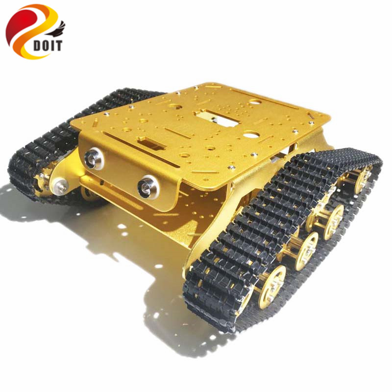 Original DOIT Caeser TSD300 4WD Shock Absorption Crawler Metal Tank Car Chassis based on ESPduino Development Kit Smart Robot official doit caeser ts600 4wd damping tracked metal tank car chassis smart robot toy robotic competition