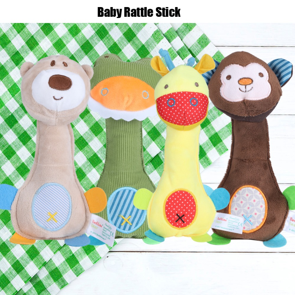 Hot sale Cartoon Animal Handbell BiBi Sound Baby Rattle Stick Toy Infant Entertainment Funny Props Animal Handbell gift for baby