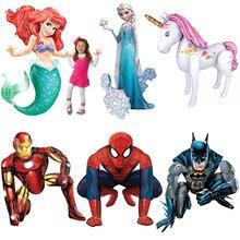 1 pc 53 inch 3D Spiderman foil Balloon princess mermaid Unicorn balloon Kid Birthday Gift Mylar hero Helium Ball iron Man globos