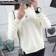 OHCLOTHING 2020 new spring Korean Short all-match winter sweater knitted shirt with long sleeves loose women sweater pullover sweater women 2020 spring new fashion printed sequined round neck drop shoulder long sleeves short knitted sweater female m l