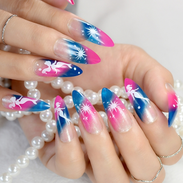 24Pcs Gradient Long Stiletto Nails Clear Pink Blue Pointed False ...