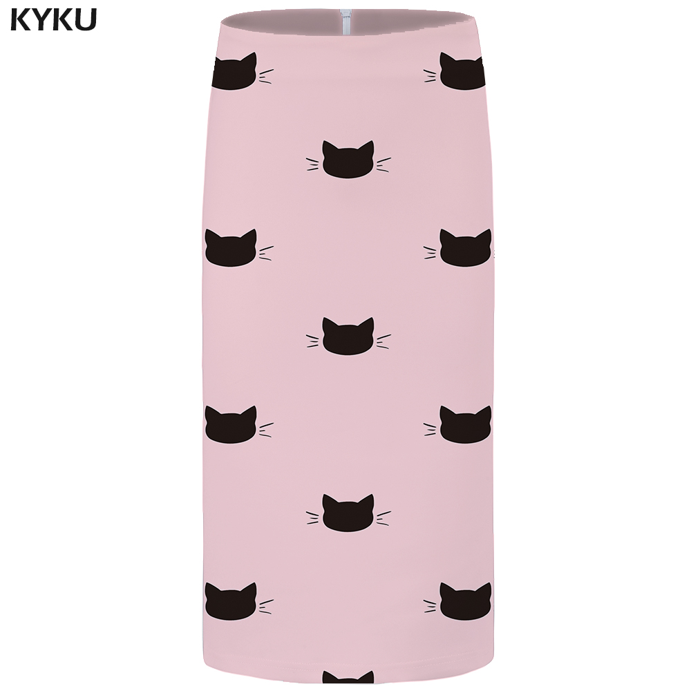 KYKU Cat Skirts Women Animal Sexy Cartoon Casual Pink Pencil Party Floral Ladies Skirts Womens Anime Knee Length Large Size