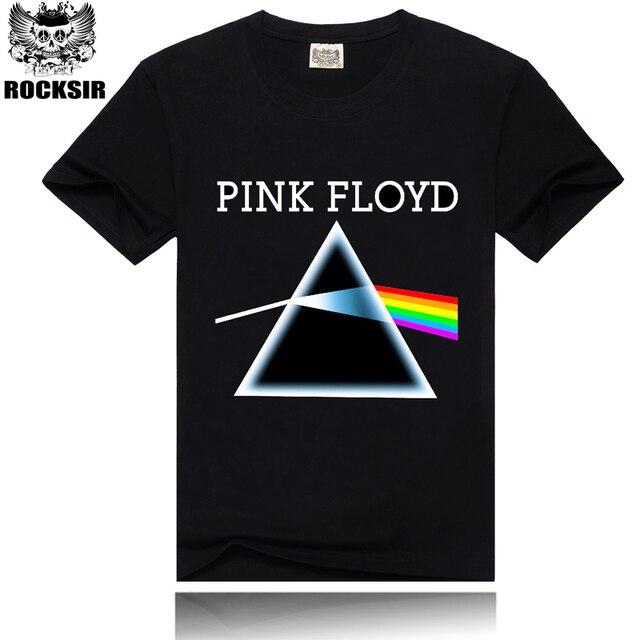 Rocksir Мужчины Футболка Черный футболки Pink Floyd Радуга Печати Скейтборд Рок Хип-Хоп Панк Черный Тройник Homme Camisa Masculina