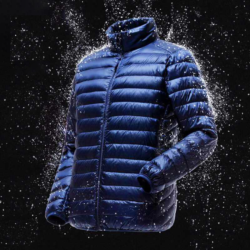2019 Men Spring Jacket Ultra Light Thin 90% White Duck   Down   Jackets Casual Portable Spring   Coat   for Men   Down   Parkas Size 4XL 5XL