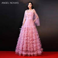 Angel Novias Long Pink Celebrity Ruffled Skirt Evening Dresses 2018