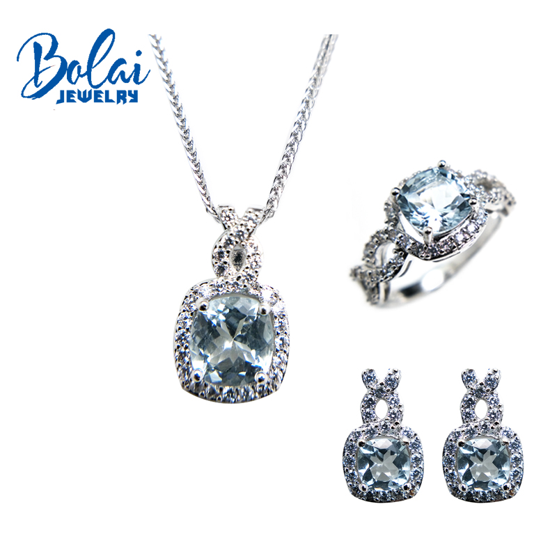 Bolaijewelry,natural aquamarine pendant or necklace and ring and earring jewelry set 925 sterling silver for women sweet gift bolaijewelry natural emerald pendant or necklace and ring and earring jewelry set 925 sterling silver for women anniversary gift