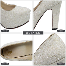 J&K 2018 New Brand High Heels Glitter Wedding Shoes Pumps Hot Sale Fashion Thick Heel Platform Shoes Woman Big Size 32-43