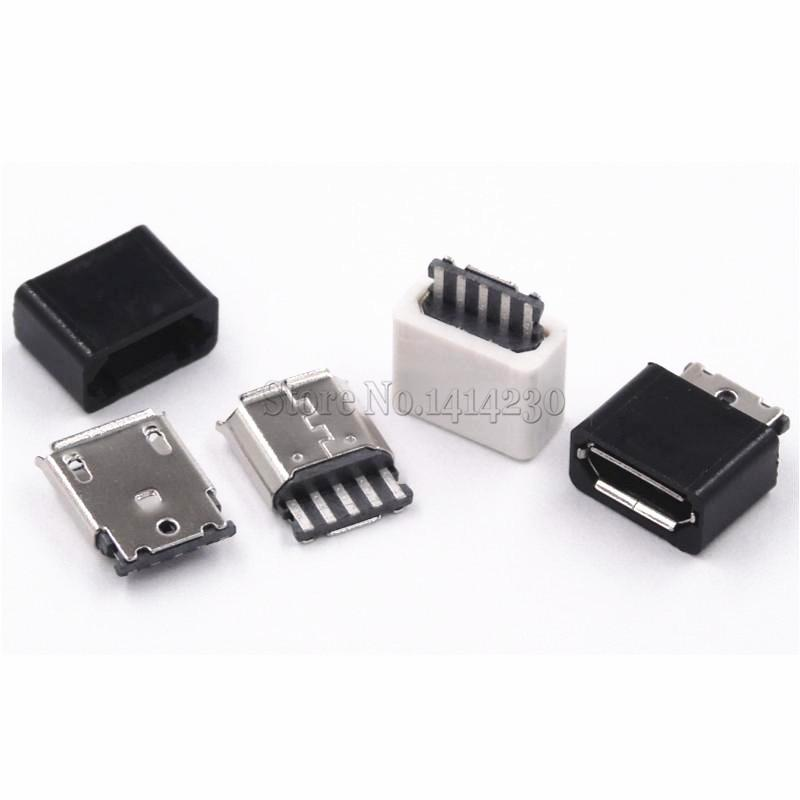 20PCS DIY Micro USB 5P 5Pin Female Plug Connectors Kit  Black And White With A Shell Welding Line Type