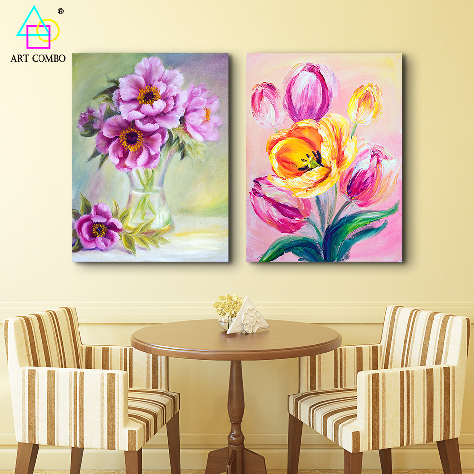 Beautiful Blooming Flowers Scenery Gouache Canvas Painting Home Wall ...