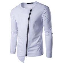 HOT 2019 spring Autumn street fashion irregular oblique zipper teenagers long-sleeved T-shirt male mens wear thin tee top