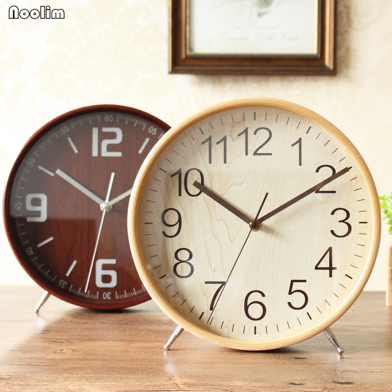 NOOLIM Table Clock Desktop Living Room Simple Solid Wood