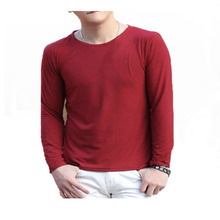 Fall 2019 mens T-shirt with round collar and long sleeves large cotton Tops