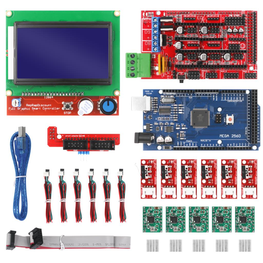 CNC 3D Printer Kit With Mega 2560 Board,RAMPS 1.4 Controller ,LCD 12864 , A4988 Stepper Driver For Arduino