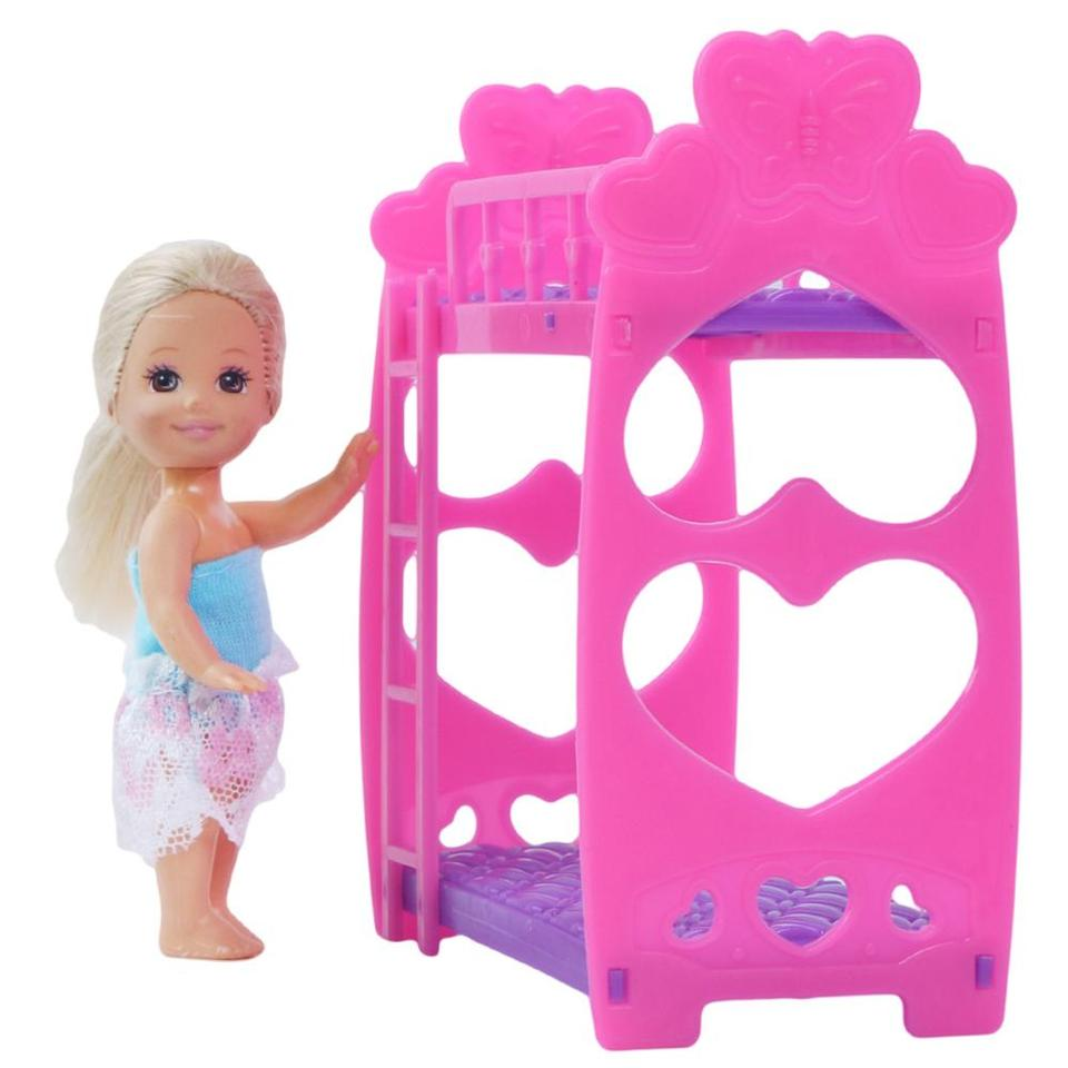High Quality Doll Bunk Bed For Barbie Doll Sister Kelly Pink Cute Furniture Playhouse Doll Accessories Diy Toy Kids