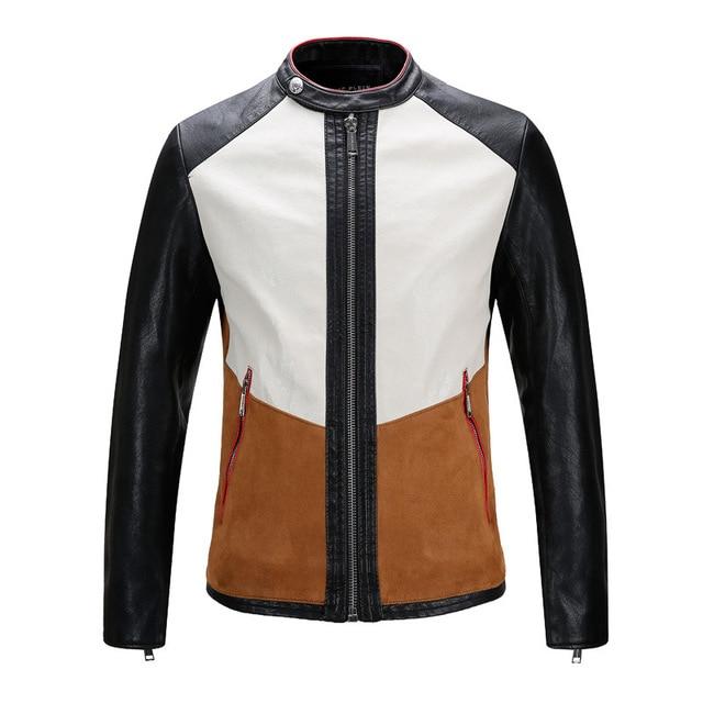 2017 New Autumn Fashion Male Leather Motorcycle Jacket 3 Color Spliced Punk Biker Winter Coat jaquetas Chaqueta Cuero Hombre