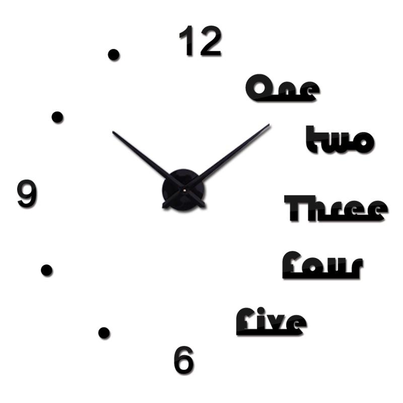Výprodej Nové nástěnné hodiny Velké hodiny Hodinkové samolepky Diy 3d Akrylové zrcadlo Domácí dekorace Křemen Balkon / nádvoří Jehla Moder