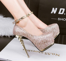 The new sexy rivets buckle round head nightclub shoes Waterproof platform 14CM high-heeled fine with women's shoes
