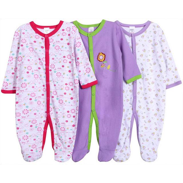 Romper do bebê 100% Algodão Bebê Recém-nascido 12 M Bebê Menina Macacões 3 pc/lote Manga Longa Roupas de Bebê Menino Roupas de Bebê conjunto
