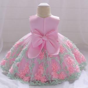 2019 Winter Newborn Baby Girl Dress Christening Lace Bow Princess Dress For Girls 1 Year Girl Baby Birthday Party Dress vestidos(China)
