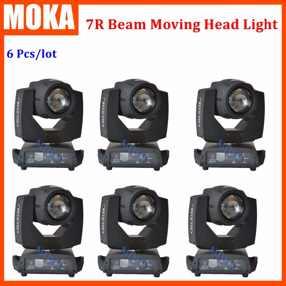 6 pcs/lot 230W Sharpy Moving head Beam Light 7r Osram lamp beam 7R Touch screen display 7R gobo wash stage dj laser light