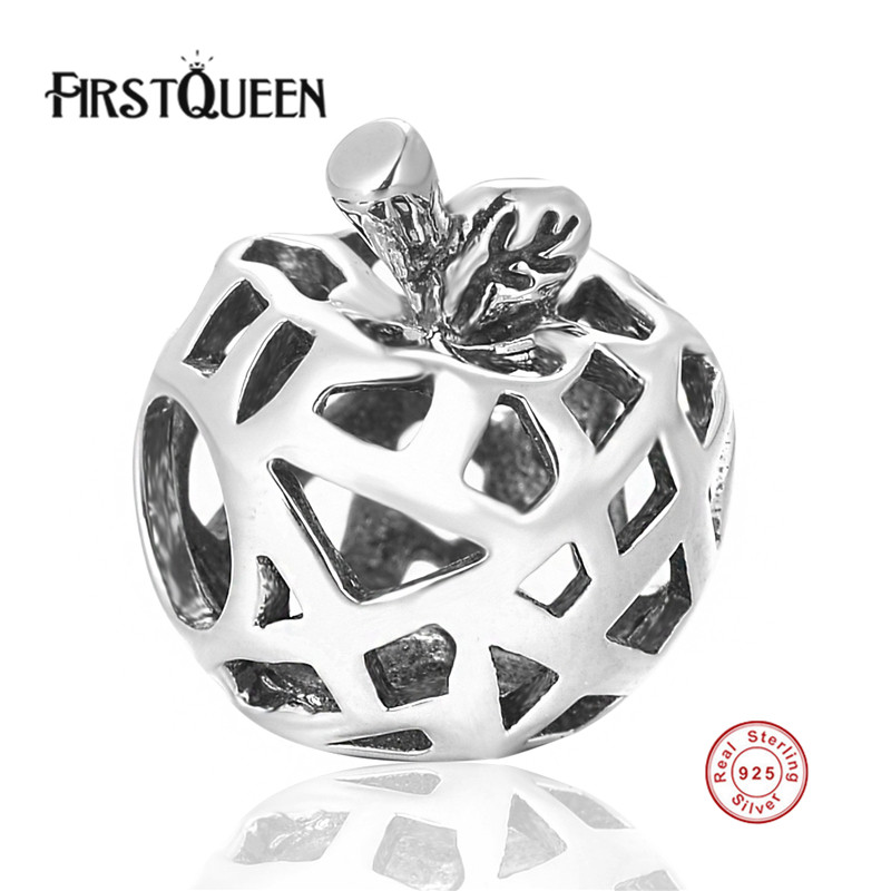 FirstQueen Classic 925 Sterling Silver Openwork Apple Bead Charms Fit Original Bracelets DIY Beads Jewelry Making