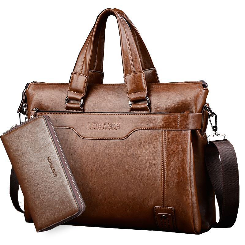 2018 Luxe merk aktentas lederen handtas mannen tassen office mannen messenger bags man reizen crossbody tassen voor mannen schoudertas