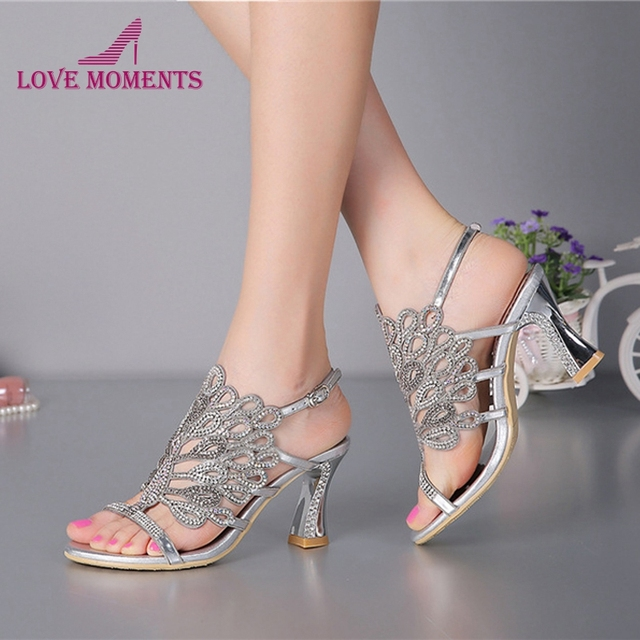 39c9e2dacd52 Summer New Sandals Chunky Heel Floral Silver Wedding Dress Shoes Rhinestone  Luxurious Genuine Leather Prom Party High Heels