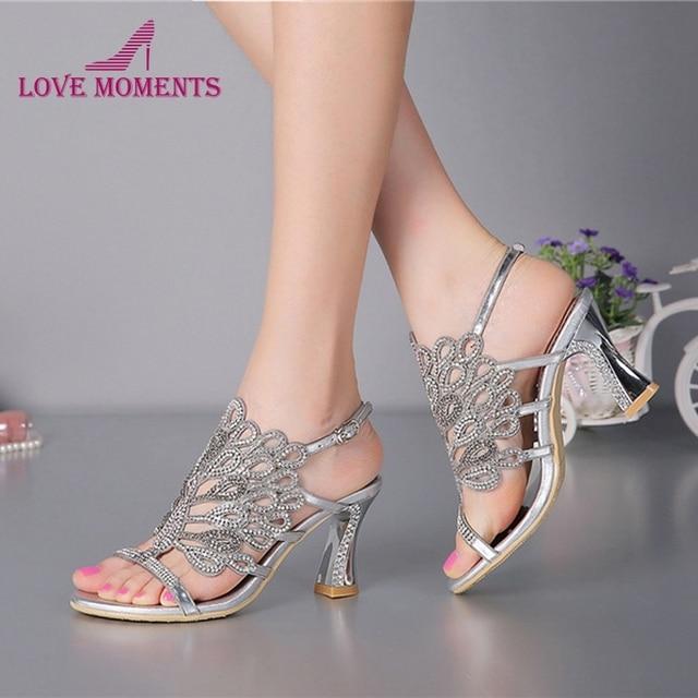 Plata Tacón Verano Nuevo Chunky Vestido Zapatos Floral Sandalias YDIWEeH29