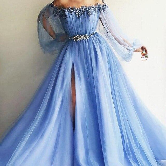 Princess Evening Dresses Elegant A Line Long Sleeves Formal Dress Beaded  vestido longo Evening Gown Ice Blue robe de soiree dc0f5a838bc0