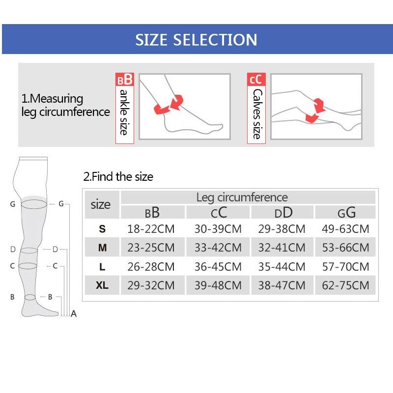 Nível de Pressão da Veia 23-32mmhg 2 Varicosa Compressão Meias