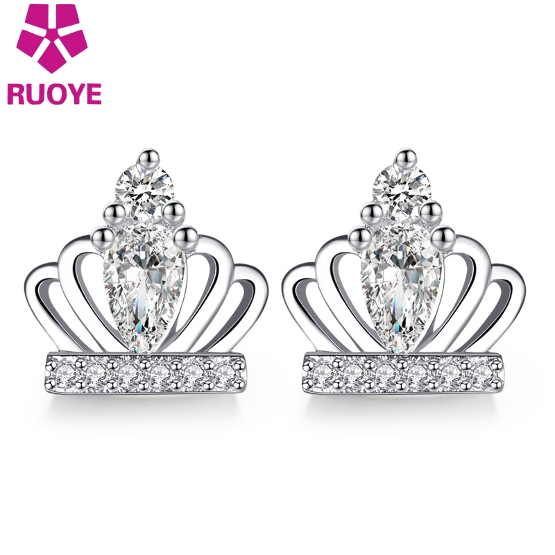 RUOYE New Gold Silver Color Luxury Crystal Women Stud Earring Princess Crown Design Earring For Women Fashion Silver Jewelry