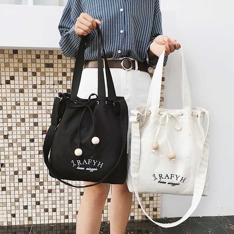 Japan And South Korea Simple Handmade Wooden Beads Drawstring Art Canvas Bag Female Shoulder Portable Shopping Bag